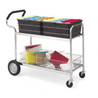 Long Wire Basket Mail Delivery Cart with Cushioned Ergo Handle