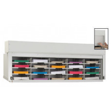 "Security Roll Down Tambour Door Mail Sorter and Office Organizer 60""W, 20 Pockets, 12-3/4"" Depth"
