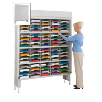 "Mail Sorter with Security Doors - 60""W - 80 Pockets, 12-3/4"" Depth"