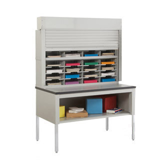 "Mail Room Security Roll Down Tambour Door Sorters and Secure Office Organizers-48""W Security Sorter, 32 Pockets,  15-3/4"" Depth"