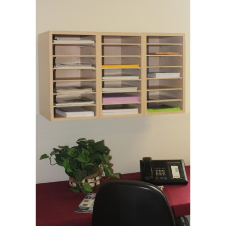 Mailroom Furniture And Office Organizers 21 Pocket Wood Sorter Organizer Shown Wall Mounted