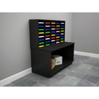 "Custom Color Wood 63""W, 40 Pocket Wood Office Organizer and Table"
