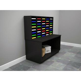 """Custom Color Wood 63""""W, 40 Pocket Wood Office Organizer and Table"""