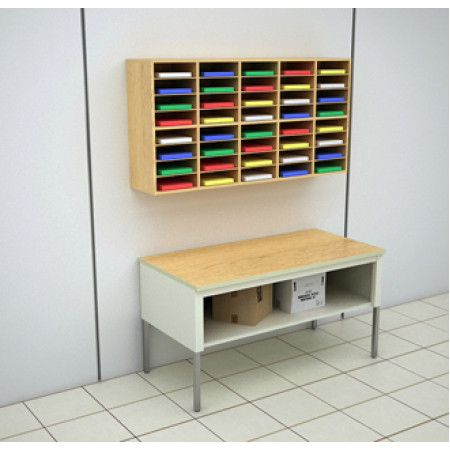 Mailroom Furniture 62 W 40 Pocket Custom Wood Wall Mount Sorter And 60 Steel Open Storage Table