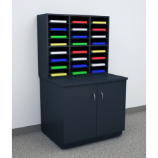 Mailroom Furniture and Office Organizer 24 Pocket Wood Sorter and Cabinet