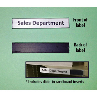 Mailroom Shelf Identification Deluxe Magnetic Backed, Plastic ID Shelf Label with Cardboard Insert