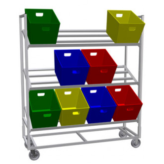 Tote Rack Mobile Triple Tote Rack Cart  (Holds 12 Totes Not Included)
