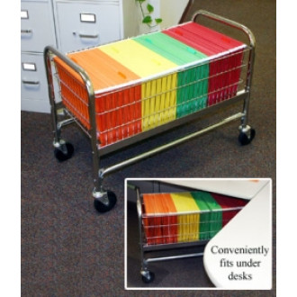 Office and Mail Center Carts Long Roll Away File Folder Basket Cart