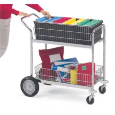 Medium Wire Basket Mail Cart or Office Distribution with Front Bumpers