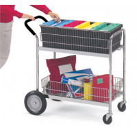 Medium Wire Basket Mail Cart and Office Cart with Cushion Grip