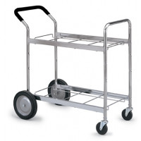 Mail Room and Office Carts Medium Double Decker Frame Mail and Office Cart with Cushioned Handle Grip
