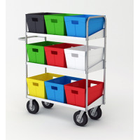 """Mail Room and Office Transport Carts 52""""H Long Bulk Mail and Tote Cart"""