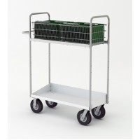 "Mail Room and Office Carts 52""H Long Mail Cart with Lower Tray"