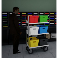 """Mail Room and Office Carts 52""""H, Tall Medium Bulk Mail and Tote Cart"""