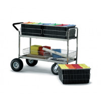 Mail Room and Office Carts Long Wire Basket Mail Delivery Cart with Cushion Grip