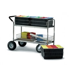 Long Wire Basket Mail Delivery Cart with Cushion Grip