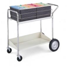 Medium Wire Basket Mail Distributing Cart with Grey Lower Shelf