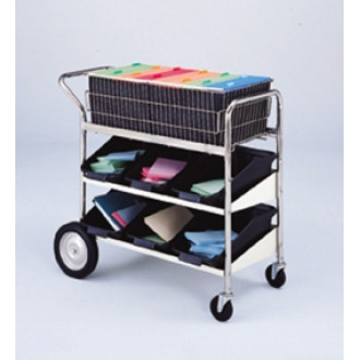 Medium Wire Basket Mail Delivery Cart with Two Lower Shelves