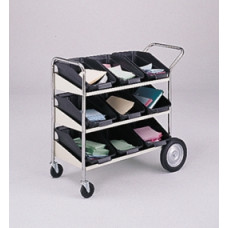 Mail Room and Office Carts Three Shelf Mobile Bin Mail Distribution Cart