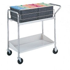 Medium Wire Basket Mail Cart with Grey Lower Shelf