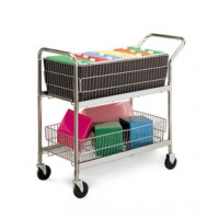 Medium Wire Basket Mail Cart with 4 Swivel Casters