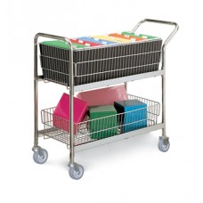 Medium Wire Basket Mail Cart with Grey Casters