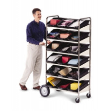 Mail Room and Office Carts Six Shelf Mobile Bin Mail Distribution Cart