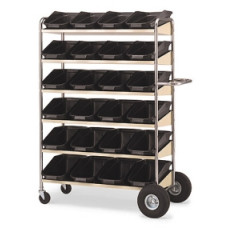 Mail Room, Warehouse and Office Carts Super Capacity Movable Bin Mail Distribution Cart with Grey Shelves