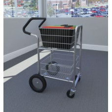 """Mail Room and Office Carts Compact Mail Distribution Cart with Bolt in Baskets, 10"""" Rear Wheels and Easy Push Handle"""