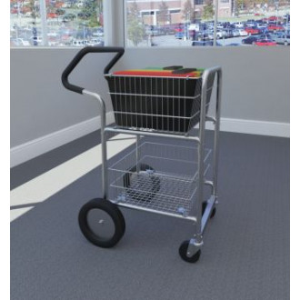 "Mail Room and Office Carts Compact Mail Distribution Cart with Bolt in Baskets, 10"" Rear Wheels and Easy Push Handle"