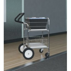 Compact Easy Push Handle Wire Basket Mail Cart with Cushion Grip