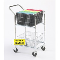 Mail Room and Office Carts Compact Mail Delivery Cart with Bolt On Baskets