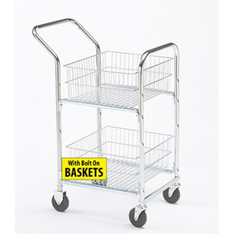 Mail Room and Office Carts Compact Mail Distribution Cart with Bolt On Parcel Baskets