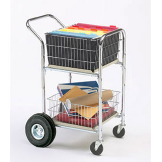 """Mail Room and Office Carts Compact Dual Handle Mail Distribution Cart with 10"""" Rear Air Tires"""