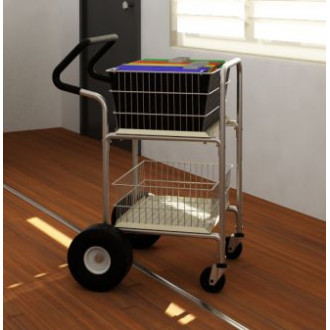 "Mail Room and Office Carts Compact Mail Distribution Cart with 10"" Rear Air Tires and Easy Push Handle"