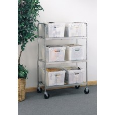 """Solid Mobile Mailroom Carts 52""""H, 6 Tote Cart - Totes sold separately"""