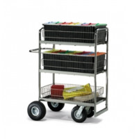 Triple Decker Wire Basket  Mail Cart With 2 Choices of Casters and Tires