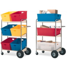Mail Room and Office Carts Three Shelf Mobile Bin Mail Distribution Cart (Cart only)