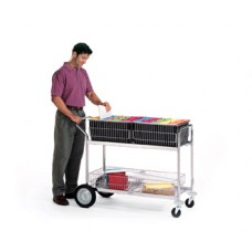Long Wire Basket Mail Delivery Cart with Front Bumpers