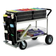 Long Basket Mail Cart with Front Canvas Caddy, Rubber Bumpers and Cushion Grip Handle