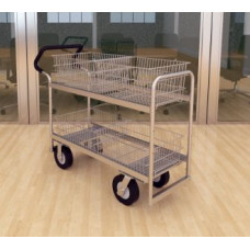 "Mail Room and Office Carts Long Wire-Basket Mail Distribution Cart with 8"" Casters and Easy Push Handle"