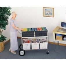 Mail Room and Office Carts Jumbo Mail Distribution Cart - Includes Plastic Bins
