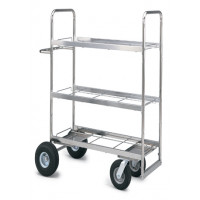 Mail Room and Office Carts Extra Long Triple Decker Frame Mail Cart with Air Tire