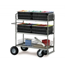 Long Triple Decker Mail Cart with Baskets