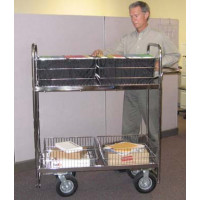 """Mail Room and Office Carts Solid 52""""H Long Mail Cart with Air Tires"""
