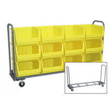 Single Shelf Extra Long Mobile Cart with 12 Bins