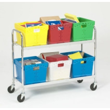 Charnstrom's Mail Room and Office Carts Extra Long, Two Shelf Mobile Tote Cart (Cart Only)