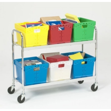 Charnstrom S Mail Room And Office Carts Extra Long Two Shelf Mobile Tote Cart