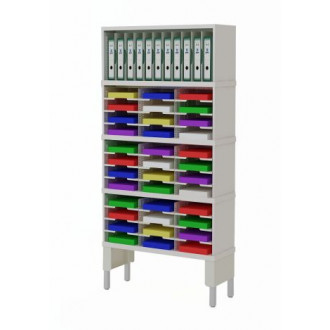"Mail Room Furniture and Office Organizers 36""W x 12-3/4""D Sorter with Horizontal and Vertical Pockets and Lower Leg Riser"