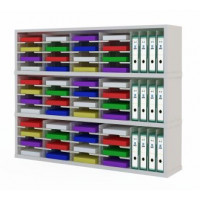 "Mail Room Consoles and Office Organizers 60""W X 12-3/4""D - Sorter with Horizontal and Vertical Pockets"